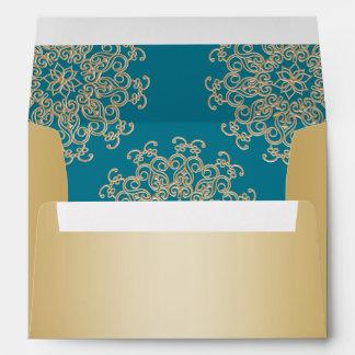 Aquamarine and Gold Indian Style Envelope