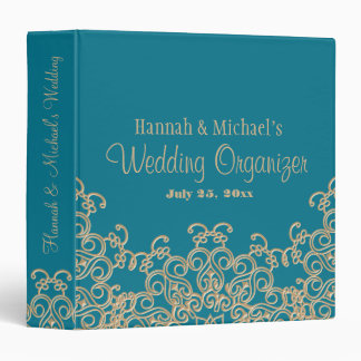 AQUAMARINE and Gold Indian Style Wedding Organizer 3 Ring Binder