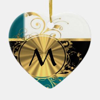 Aquamarine and gold monogram Double-Sided heart ceramic christmas ornament