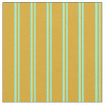 [ Thumbnail: Aquamarine and Goldenrod Colored Stripes Fabric ]