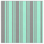 [ Thumbnail: Aquamarine and Gray Colored Stripes/Lines Pattern Fabric ]