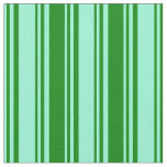 [ Thumbnail: Aquamarine and Green Pattern of Stripes Fabric ]