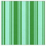 [ Thumbnail: Aquamarine and Green Pattern of Stripes Fabric ]