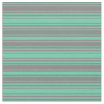 [ Thumbnail: Aquamarine and Grey Stripes/Lines Pattern Fabric ]