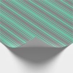 [ Thumbnail: Aquamarine and Grey Stripes/Lines Pattern Wrapping Paper ]
