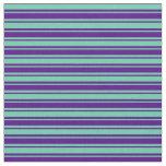 [ Thumbnail: Aquamarine and Indigo Colored Lines Fabric ]