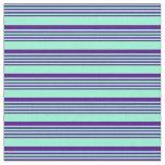 [ Thumbnail: Aquamarine and Indigo Stripes Pattern Fabric ]