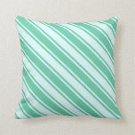 [ Thumbnail: Aquamarine and Light Cyan Colored Stripes Pillow ]