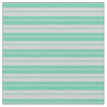 [ Thumbnail: Aquamarine and Light Grey Lined/Striped Pattern Fabric ]