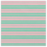 [ Thumbnail: Aquamarine and Light Pink Colored Stripes Fabric ]