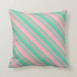 [ Thumbnail: Aquamarine and Light Pink Lines/Stripes Pattern Throw Pillow ]