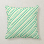[ Thumbnail: Aquamarine and Light Yellow Stripes Pattern Pillow ]