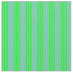 [ Thumbnail: Aquamarine and Lime Striped Pattern Fabric ]