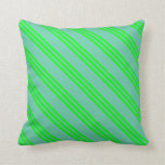 [ Thumbnail: Aquamarine and Lime Striped Pattern Throw Pillow ]
