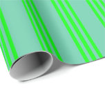 [ Thumbnail: Aquamarine and Lime Striped Pattern Wrapping Paper ]