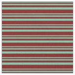 [ Thumbnail: Aquamarine and Maroon Stripes Pattern Fabric ]