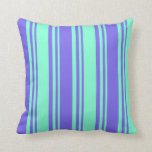 [ Thumbnail: Aquamarine and Medium Slate Blue Colored Pattern Throw Pillow ]