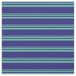 [ Thumbnail: Aquamarine and Midnight Blue Colored Lines Fabric ]