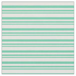 [ Thumbnail: Aquamarine and Mint Cream Colored Striped Pattern Fabric ]