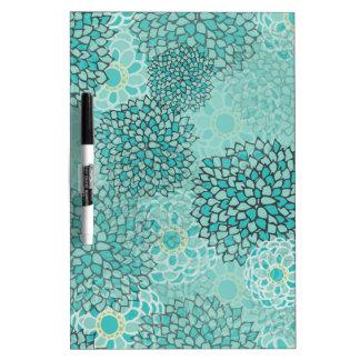Aquamarine and Mint Flower Burst Design Dry Erase Board