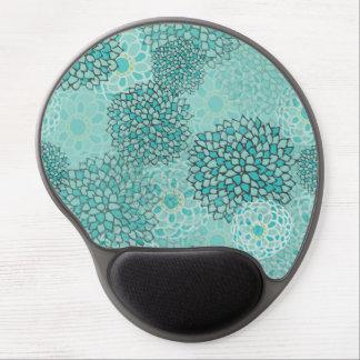 Aquamarine and Mint Flower Burst Design Gel Mouse Pad