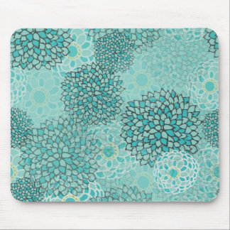 Aquamarine and Mint Flower Burst Design Mouse Pad