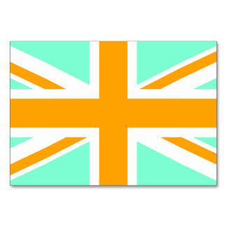 Aquamarine and Orange Union Jack Table Card