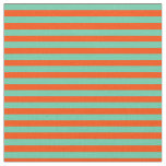 [ Thumbnail: Aquamarine and Red Colored Stripes Fabric ]