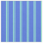 [ Thumbnail: Aquamarine and Royal Blue Pattern of Stripes Fabric ]