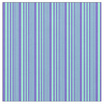 [ Thumbnail: Aquamarine and Slate Blue Colored Lined Pattern Fabric ]