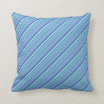 [ Thumbnail: Aquamarine and Slate Blue Colored Lined Pattern Throw Pillow ]
