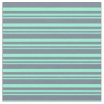 [ Thumbnail: Aquamarine and Slate Gray Lines/Stripes Pattern Fabric ]