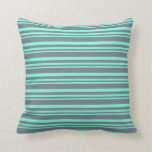 [ Thumbnail: Aquamarine and Slate Gray Lines/Stripes Pattern Throw Pillow ]