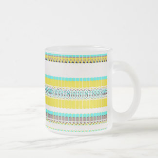 Aquamarine and Yellow 10 Oz Frosted Glass Coffee Mug