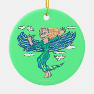 Aquamarine Angel Ceramic Ornament