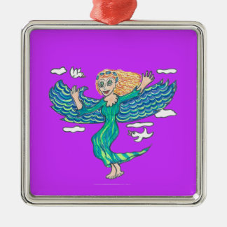 Aquamarine Angel Metal Ornament
