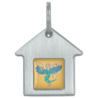 Aquamarine Angel Pet ID Tags