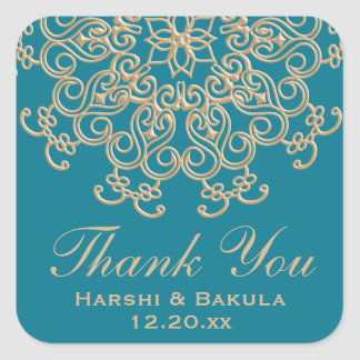 AQUAMARINE AQUA GOLD INDIAN INSPIRED THANK YOU SQUARE STICKER
