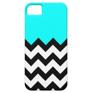 Aquamarine-Azul-En-Negro-y-Blanco-Zigzag-Modelo iPhone 5 Carcasas