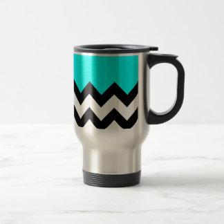 Aquamarine-Azul-En-Negro-y-Blanco-Zigzag-Modelo Taza De Café