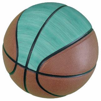 Aquamarine Bamboo Wood Grain Look Basketball