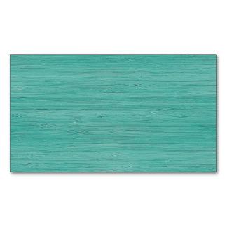 Aquamarine Bamboo Wood Grain Look Business Card Magnet