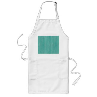 Aquamarine Bamboo Wood Grain Look Long Apron