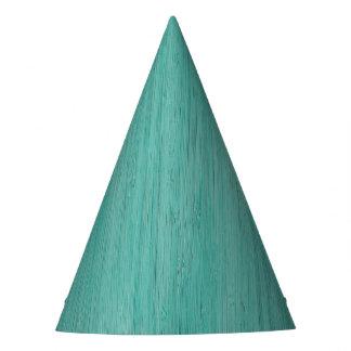 Aquamarine Bamboo Wood Grain Look Party Hat