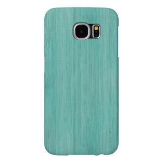 Aquamarine Bamboo Wood Grain Look Samsung Galaxy S6 Case