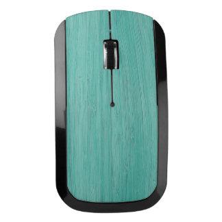 Aquamarine Bamboo Wood Grain Look Wireless Mouse