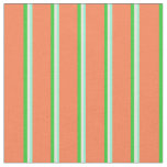 [ Thumbnail: Aquamarine, Beige, Lime Green & Coral Pattern Fabric ]