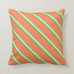 [ Thumbnail: Aquamarine, Beige, Lime Green & Coral Pattern Throw Pillow ]