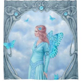 Aquamarine Birthstone Fairy Light Blue Shower Curtain