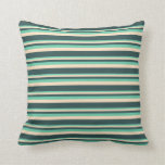 [ Thumbnail: Aquamarine, Bisque, and Dark Slate Gray Pattern Throw Pillow ]